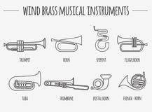 Plantilla del gráfico de los instrumentos musicales Latón del viento Foto de archivo