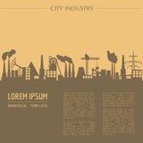 Plantilla del gráfico del paisaje urbano Edificios de la ciudad de la industria Fotos de archivo