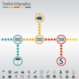 Plantilla del infographics de la cronología Elementos horizontales e iconos del diseño fijados incluidos Ilustración colorida del stock de ilustración