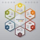 Plantilla del infographics de los pasos del extracto 6 Infographics para la presentación del negocio Imagen de archivo libre de regalías