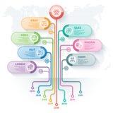 Plantilla del infographics del árbol con 7 opciones y raíces de las ramas stock de ilustración