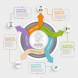 Plantilla del infographics del círculo de la flecha de 5 pasos ilustración del vector