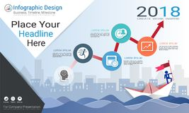 Plantilla del infographics del negocio, cronología del jalón o mapa de camino con opciones del organigrama de proceso 4 Fotografía de archivo