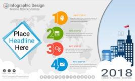 Plantilla del infographics del negocio, cronología del jalón o mapa de camino con opciones del organigrama de proceso 4 Fotografía de archivo libre de regalías