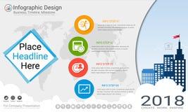 Plantilla del infographics del negocio, cronología del jalón o mapa de camino con opciones del organigrama de proceso 4 Fotos de archivo