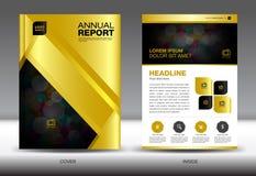 Plantilla del informe anual del oro, diseño de la cubierta del oro, YER del folleto la Florida, adentro ilustración del vector