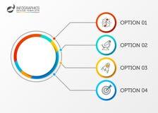 Plantilla del informe de Infographic con 4 pasos Vector Fotos de archivo