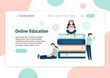 Plantilla del jefe para la página web con la gente que aprende con diversos dispositivos ilustración del vector