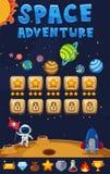 Plantilla del juego con el fondo de la aventura del espacio stock de ilustración