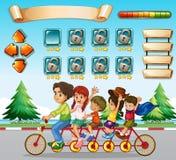 Plantilla del juego con la bicicleta del montar a caballo de la familia Imagen de archivo libre de regalías