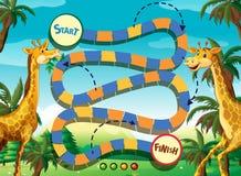 Plantilla del juego con la jirafa en el fondo de la selva libre illustration