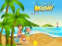 Plantilla del juego del día de fiesta de la playa del verano ilustración del vector