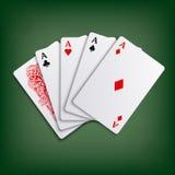 Plantilla del juego de naipes del póker de los aces Imágenes de archivo libres de regalías