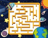 Plantilla del juego del rompecabezas con el fondo del espacio ilustración del vector