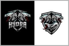 Plantilla del logotipo de la insignia del vector de la cabeza de la mitología del Hydra ilustración del vector