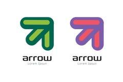 Plantilla del logotipo del extracto de la flecha del vector Encima de, forma Imágenes de archivo libres de regalías