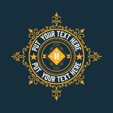Plantilla del logotipo del vintage, hotel, restaurante, sistema de la identidad del negocio Fotografía de archivo