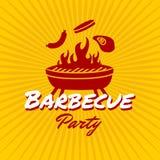Plantilla del logotipo del partido de la barbacoa stock de ilustración