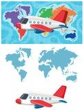 Plantilla del mapa del avión y del Wold stock de ilustración
