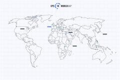 Plantilla del mapa del mundo con Coutries stock de ilustración