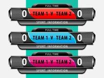Plantilla del marcador del deporte del fútbol Imagen de archivo libre de regalías