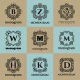 Plantilla del marco del monograma del vintage Fotos de archivo