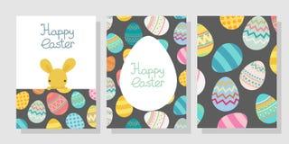 Plantilla del marco del huevo de Pascua del vector con el conejo libre illustration