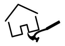 Plantilla del martillo que tira de diseño de concepto del logotipo de la casa imagen de archivo libre de regalías