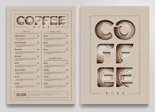 Plantilla del menú de la cafetería Mofa del carro del café para arriba Ilustración del vector Foto de archivo libre de regalías