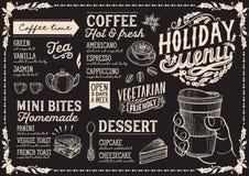 Plantilla del menú de la Navidad para la cafetería en la pizarra ilustración del vector