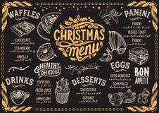 Plantilla del menú de la Navidad para el brunch en la pizarra Stock de ilustración