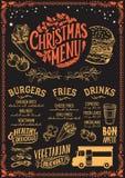 Plantilla del menú de la Navidad para el camión de la comida stock de ilustración