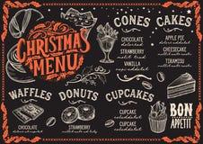 Plantilla del menú de la Navidad para el restaurante del postre libre illustration