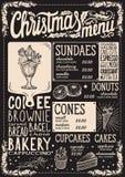 Plantilla del menú de la Navidad para el restaurante del postre stock de ilustración
