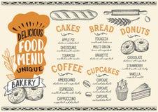 Plantilla del menú de la panadería para el restaurante en el folleto beige del ejemplo del vector del fondo Ilustración del Vector