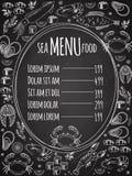 Plantilla del menú de la pizarra de los mariscos Imágenes de archivo libres de regalías
