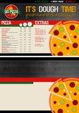 Plantilla del menú de la pizza Fotografía de archivo