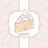 Plantilla del menú del postre con la torta dulce y el garabato Fotos de archivo