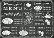 Plantilla del menú del restaurante de la pizarra del Grunge Fotos de archivo libres de regalías