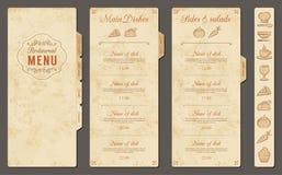Plantilla del menú del restaurante del vector del vintage ilustración del vector