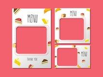 Plantilla del menú para el postre y la panadería dulce stock de ilustración