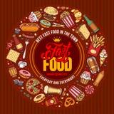 Plantilla del menú de los alimentos de preparación rápida Imagen de archivo libre de regalías