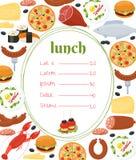 Plantilla del menú del almuerzo Imagen de archivo libre de regalías