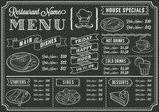 Plantilla del menú del restaurante de la pizarra Imagen de archivo libre de regalías