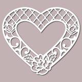 Plantilla del modelo de Lacy Hearts With Carved Openwork de la plantilla para la boda de las disposiciones de diseño interior ilustración del vector