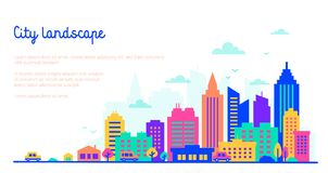 Plantilla del paisaje de la ciudad con el espacio de la copia Siluetas planas del estilo de edificios en colores vivos del respla stock de ilustración