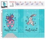 Plantilla del paquete para el día de fiesta de pascua con los dibujos del garabato libre illustration