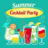 Plantilla del partido de cócteles del verano Imagen de archivo libre de regalías