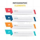 Plantilla del proceso de la cronología de Infographic del negocio, desgin colorido del cuadro de texto de la bandera para la pres ilustración del vector