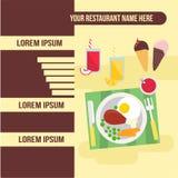 Plantilla del restaurante del menú con el ejemplo de la comida Imagenes de archivo